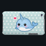 "Cute baby narwhal on polka dots barely there iPod case<br><div class=""desc"">Protect your Ipod Touch case with this super cute and durable Case-mate case. For those who love kawaii baby narwhal with heart on blue and white polka dots background.</div>"
