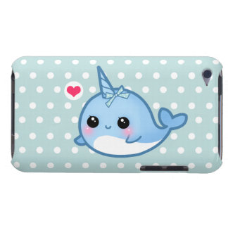 Cute baby narwhal on polka dots iPod Case-Mate case