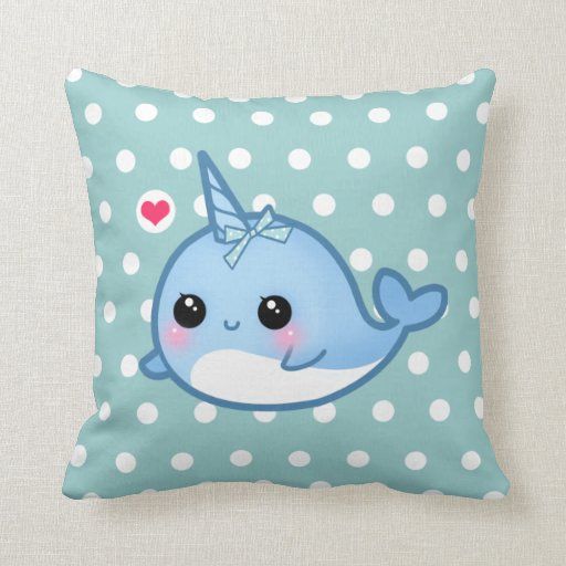 Cute baby narwhal on polka dots pillow Zazzle