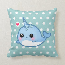 Cute baby narwhal on polka dots throw pillow