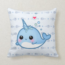 Cute baby narwhal throw pillow