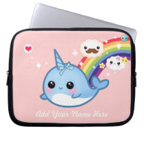 Cute baby narwhal with rainbow and clouds on pink laptop sleeve