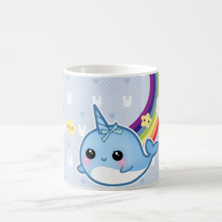Cute baby narwhal with rainbow and kawaii cloud coffee mug