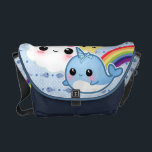"Cute baby narwhal with rainbow and kawaii clouds courier bag<br><div class=""desc"">Cute baby narwhal with rainbow and kawaii cloud</div>"