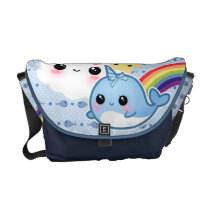 Cute baby narwhal with rainbow and kawaii clouds courier bag