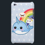 "Cute baby narwhal with rainbow and kawaii clouds iPod touch Case-Mate case<br><div class=""desc"">Case-Mate Barely There™ cases guard your iPod Touch in style! With its flexible and form-fitting design, this case removes the bulk without reducing protection. Case-Mate Barely There™ iPod Touch cases are completely compatible with the functionality of your iPod. Your dock connection, headphone insert, and other controls are all easily accessible...</div>"