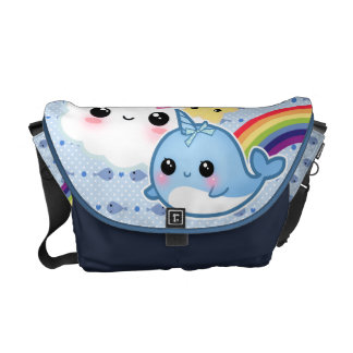 Cute baby narwhal with rainbow and kawaii clouds messenger bag