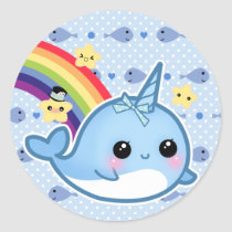 Cute baby narwhal with rainbow and stars classic round sticker