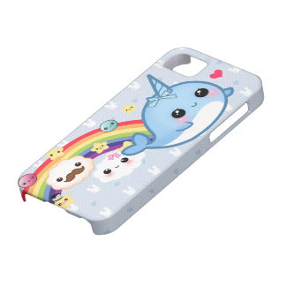 Cute baby narwhal with rainbow, clouds and stars iPhone 5 cover