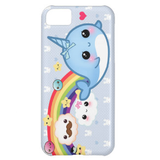Cute baby narwhal with rainbow, clouds and stars cover for iPhone 5C