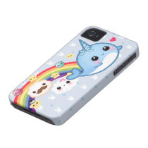 Cute baby narwhal with rainbow, clouds and stars iPhone 4 case