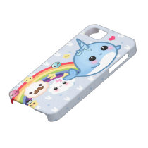Cute baby narwhal with rainbow, clouds and stars iPhone SE/5/5s case