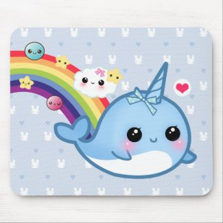 Cute baby narwhal with rainbow, clouds and stars mousepad