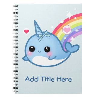 Cute baby narwhal with rainbow - Personalized Spiral Notebook