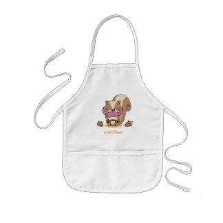 Cute baby network squirrel breakfast huzelnuts kids' apron