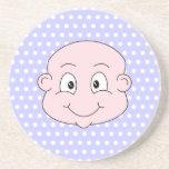 Cute Baby, on lilac polka dot pattern. Coasters