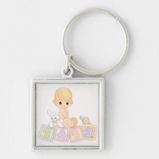 Cute Baby on Toy Blocks Keychain