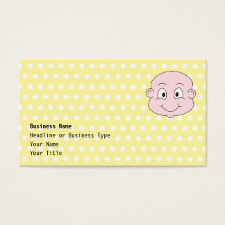 Cute Baby, on yellow polka dot pattern. Business Card