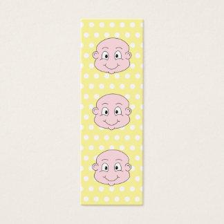 Cute Baby, on yellow polka dot pattern. Mini Business Card
