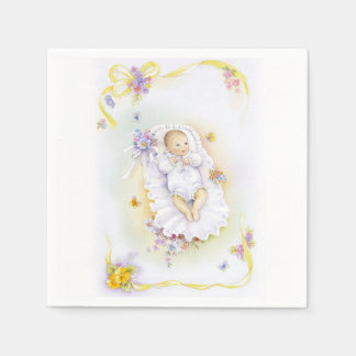 Cute baby or infant baptism bowl chin disposable napkins
