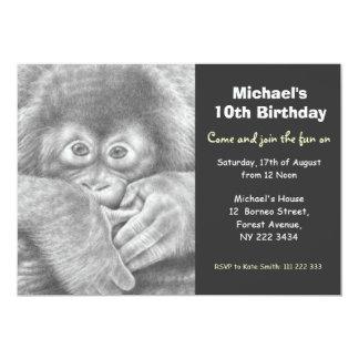 Cute Baby Orangutan Birthday Party Invitation