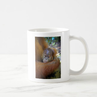 Cute baby orangutan in mothers arms coffee mug