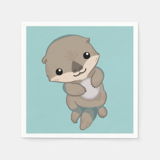 Cute Baby Otter Pup Paper Napkin