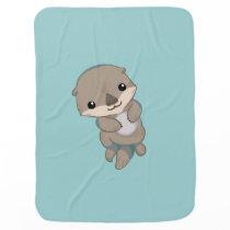 Cute Baby Otter Pup Receiving Blanket