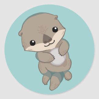 Cute Baby Otter Pup Stickers