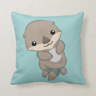 Cute Baby Otter Pup Throw Pillow