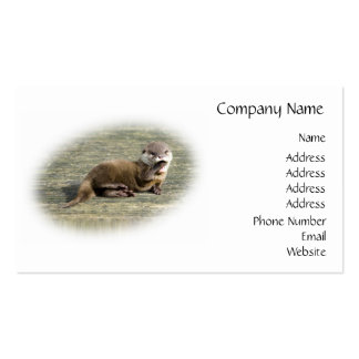 Cute Baby Otter Yawning Business Card Templates