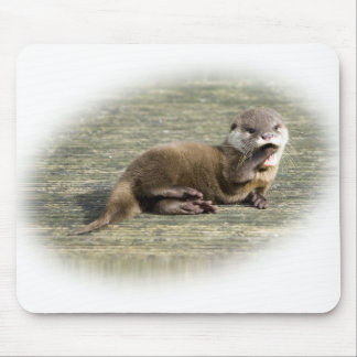 Cute Baby Otter Yawning Mouse Pad
