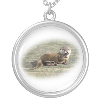 Cute Baby Otter Yawning Round Pendant Necklace