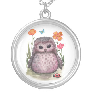 Cute Baby Owl and Ladubug Necklace