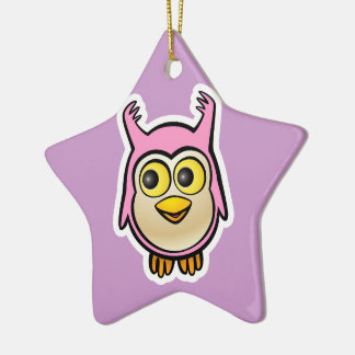 Cute Baby Owl Ceramic Ornament