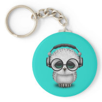 Cute Baby Owl Dj Wearing Headphones Keychain