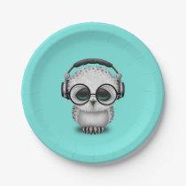 Cute Baby Owl Dj Wearing Headphones Paper Plate
