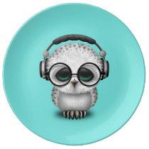 Cute Baby Owl Dj Wearing Headphones Porcelain Plate