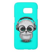 Cute Baby Owl Dj Wearing Headphones Samsung Galaxy S7 Case