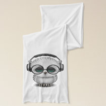 Cute Baby Owl Dj Wearing Headphones Scarf