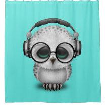 Cute Baby Owl Dj Wearing Headphones Shower Curtain