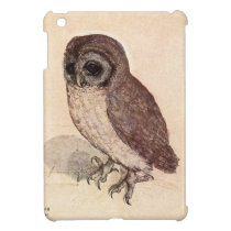 Cute Baby Owl Drawing, Watercolor Cream Brown Owl iPad Mini Cover