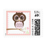 Cute Baby Owl Girl in Pink Sitting on a Branch Stamp