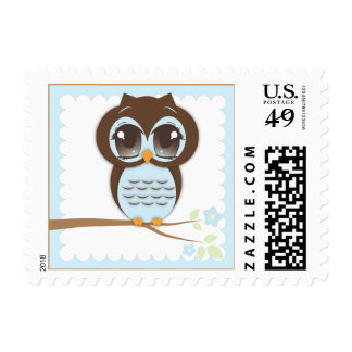 Cute Baby Owl in Blue Sitting on a Branch Postage