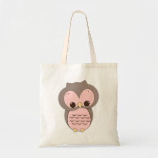 Cute Baby Owl in Pink Canvas Bags