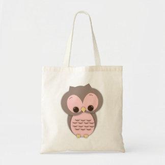 Cute Baby Owl in Pink Tote Bag