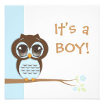 Cute Baby Owl It's a Boy Baby Shower Invitation