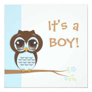 "Cute Baby Owl It's a Boy Baby Shower Invitation 5.25"" Square Invitation Card"