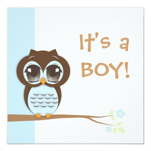 cute baby owl it 39 s a boy baby shower invitation zazzle
