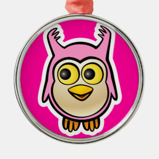 Cute Baby Owl Metal Ornament